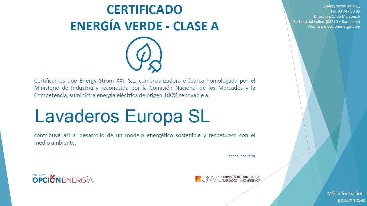 Certificado de Energía Verde